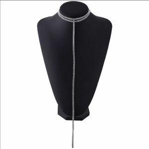 Rhinestone double chocker Y necklace  NWT